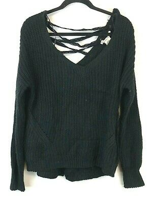 American Rag Junior's Lace Up V Neck Long Sleeve Sweater Size XL NWT