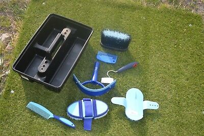 Grooming Kit And Tray Blacks And Blues New With 7 Grooming Items Bargain