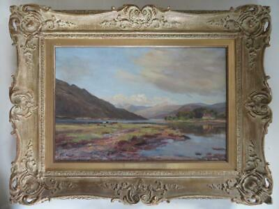 late 19th Century LARGE ORIGINAL Oil Painting SCOTTISH HIGHLAND CATTLE AT A LOCH