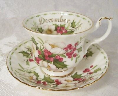 Royal Albert December Christmas Rose Cup & Saucer Flower Of The Month Series