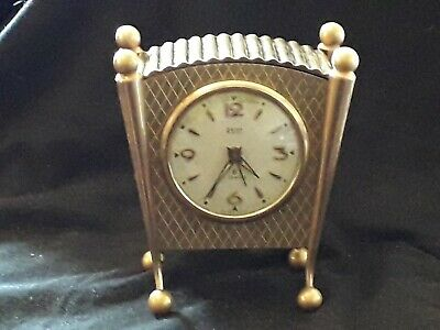 Vintage Swiza Migion  8day 7 Jewel alarm brass  Carriage Clock Working