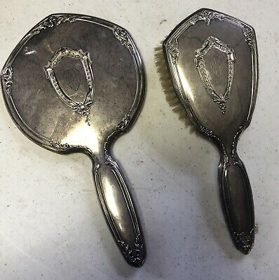 Antique STERLING SILVER Mirror & Brush Set