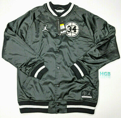 e42b4f2b646 Nike Air Jordan He Got Game Satin Jacket Mens Black White Varsity  AR1169-010 NWT