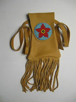 a8bfd5edc1b51 Mb-9 Golden Yellow Deerskin Medicine Bag With Beaded Rosette Free Shipping
