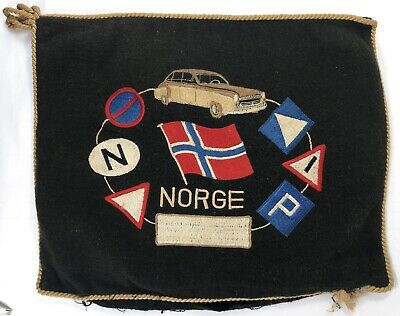 NORGE Antique Vintage Embroidered Felt PILLOW CASE Auto Club Norway Norwegian