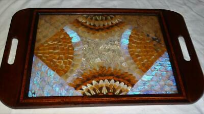 Vintage / Antique Butterfly Wing Mahogany Inlaid Tray,collectible.
