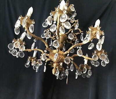 Large Antique Chandelier Mid-century Solid Brass Crystal Ceiling Fixture 1950's