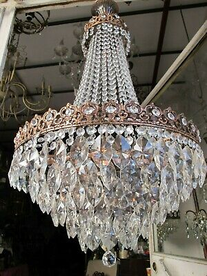 """Antique Vintage French Extra Large Crystal Chandelier Ceiling Lamp 1940's 18"""" Dm"""