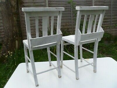 """EDWARDIAN WOOD 2x CHURCH BIBLE BACK CHAIRS, DISTRESSED, """"SHABBY CHIC"""" EFFECT"""