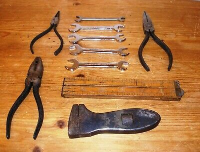 Joblot of Vintage Tools - small spanners x 5,pliers x 3,adjustable wrench & rule