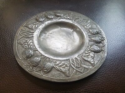 Antique Arts & Crafts Small Pewter Tray Stickley Era Hand Wrought Decorative Old