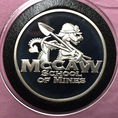 McCaw School of Mines Sunshine Mint 1 Troy Oz .999 Fine Silver Round Medal Coin