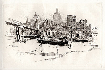 """Original 1800s PENNELL Etching """"St Paul's from Paul's Wharf"""" SIGNED FRAMED COA"""
