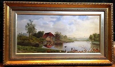 OIL PAINTING FRENCH 1913 WW1 Perrett Early 20th century Canvas GOLD Gilt FRAME