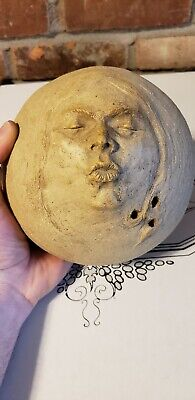 Unsigned Studio Pottery Ball Shaped Weed Pot Vase Puckered Lips Face Woman