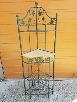OLDE CHARM  Metal Wine Rack stand with corner bench needing  tlc PENRITH area