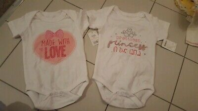Set of 2  Cute Printed vests 'Prettiest Princess' and 'Made with love' 6-9 month