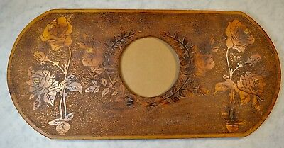 "Antique Carved Roses Wood Picture/Mirror Frame 11 X 24"" Victorian~Arts & Crafts"