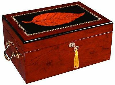 Deauville 100 Cigar Humidor Maple Finish Tobacco Leaf Inlay / FREE SHIPPING