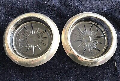 Pair Of Sterling Silver Rimmed Glass Coasters By Frank M. Whiting & Co