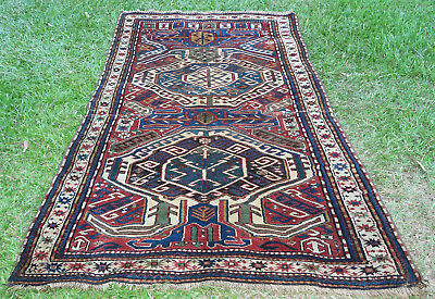LARGE  ANTIQUE HAND KNOTTED CAUCASIAN  LANKORAN  PILE RUG C1910's