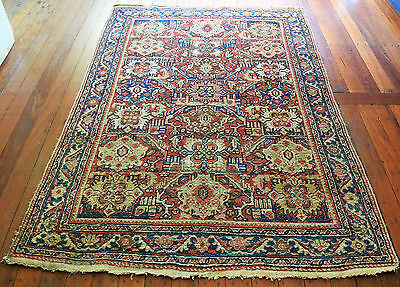Superb  Antique Hand Knotted Mahal Persian Wool Pile Rug 1930's