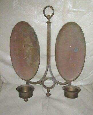 Vintage/Antique Wall Mount Brass Double Candle Holder w/Reflectors