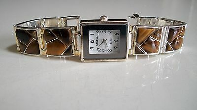 Women's Tiger Eye color stones silver finish fashion watch