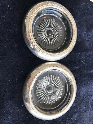 Pair of Sterling Silver Rimmed Glass Coasters