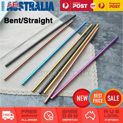 4x Stainless Steel Metal Drinking Straw Straws Reusable Silver/Rose Gold/Rainbow