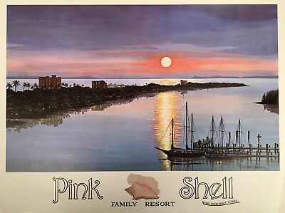 Vintage TRAVEL POSTER Harold Hancock FORT MYERS BEACH Pink Shell Resort FLORIDA