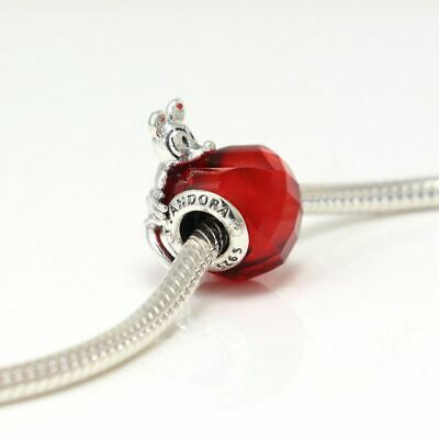 New Authentic Pandora Charms Sterling Silver Mickey Heart Red Crystal Charm Bead