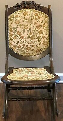 Wooden Folding Antique Victorian Rocking Chair, Reading, Sewing, Nursing