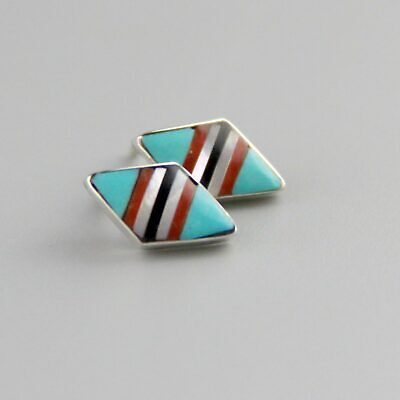 Vintage Little Native American Turquoise Studs Micro-Inlay Coral MOP Earrings