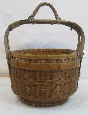 Antique Chinese Hanging Basket Bamboo Woven Natural Cottage Country Natural