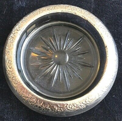 Sterling Silver Rimmed Glass Coaster By Frank M. Whiting & Co