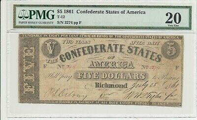 T-12 PF-1 $5 Confederate Paper Money 1861 - PMG Very Fine 20!