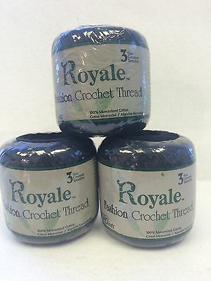 3 Royale Fashion Crochet Thread by J&P Coats, Size 3, Color Black
