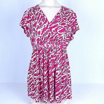 Oh Baby Maternity Top Womens Size M Pink White Short Sleeve Stretch Pullover