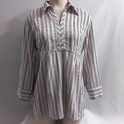 Motherhood Womens Top Size M Long Sleeve White/Red/Black Striped Pullover