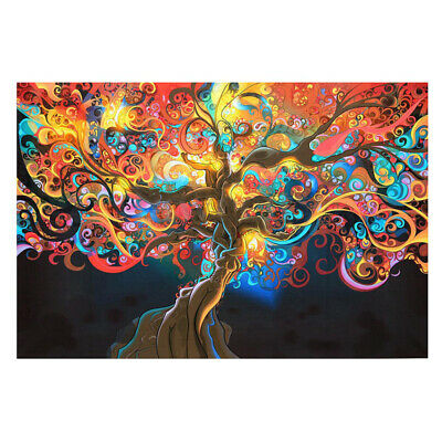 Psychedelic Trippy Tree Abstract Silk Fabric Cloth Poster Home Wall Decor 50X 33