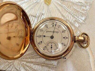 Antique Columbus Watch Co. 18sz, 1800's, Rare Dial Includes Military Time! Great