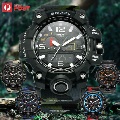 SMAEL MENS SPORTS DIGTAL WATCH Silver Gold Military Army Waterproof Wrist Watch
