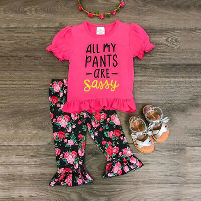 USA Toddler Kids Baby Girls Tops T shirt Floral Pants Summer Outfits Set Clothes