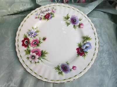 "Royal Albert Flower of Month March 8 1/2"" Salad Plate Anemones"