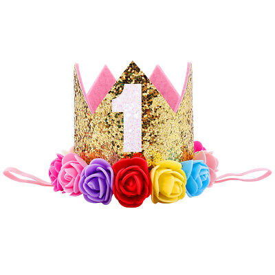 Infant Baby Girl 1st/2nd Birthday Party Princess Crown Hat Flower Tiara Headband