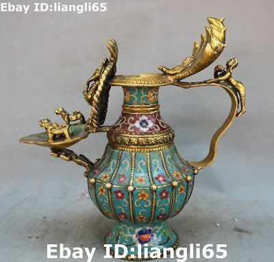 "12 ""Cloisonne Emaille vergoldete Mann Person Dragon Lion Öl Lampe Flagon Statue"