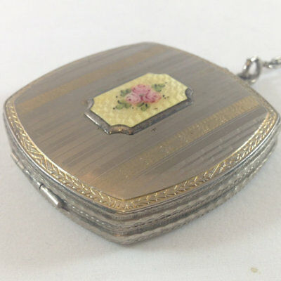 Art Deco Powder Guilloche Rouge Enamel Floral Hand Painted deco ring compact