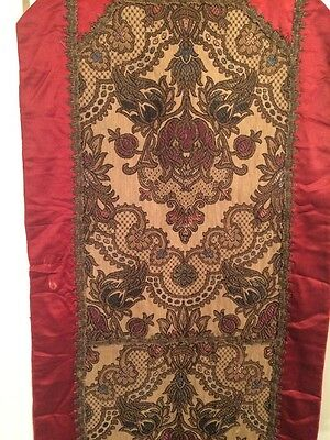 Beautiful! Antique Victorian Silk and Embroidery Hand Stitching Table Runner
