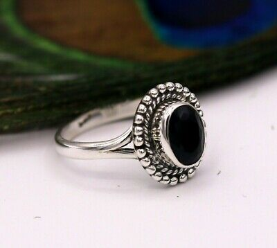 Genuine 925 Pure Sterling Silver Vintage Antique Black Onyx Ring Band Sr174